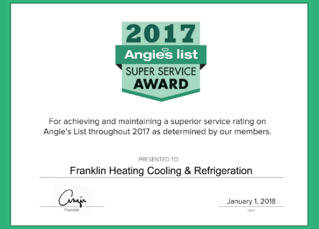 Franklin Heating Cooling & Refrigeration Earns Esteemed 2017 Angie's List Super Service Award